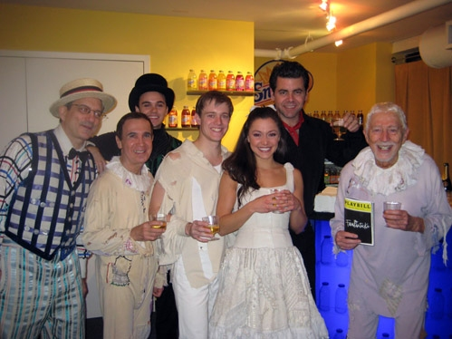 The Cast Celebrates 500 Performances. Pictured: Martin Vidnovic, Robert Oliver, Jordan Nichols, Douglas Ullman, Jr., Culie Craig, Burke Moses, Tom Jones