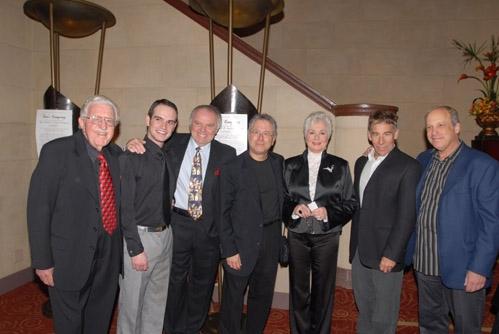 l-r: James McCloskey, Cason Murphy, Dr. Al Rossi, Alan Menken, Shirley Jones, Stephen Schwartz and Bruce Kimmel