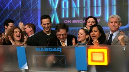 Mary Testa, Cheyenne Jackson, Douglas Carter Beane, Kerry Butler, Brian Swibel,  Maribel Aber (VP of NASDAQ), Tony Roberts at 'Xanadu' Rings NASDAQ Bell Nov.6
