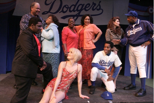 Ken Page and Armelia McQueen as Joe and Meg Boyd, Lillias White as Dory and Jackée Harry as Sister, Lesli Marghertia as Gloria Thorpe and Hassan El-Amin as Coach Burns, Cleavant Derricks as Applegate and Meg Gillentine as Lola, Ty Taylor as Joe Hardy at 'Damn Yankees' at LA Reprise!