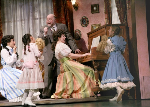 Brynn O'Malley (Esther Smith), Sophie Rudin (Tootie Smith), JB Adams (Grandpa Prophater), Julia Osborne (Rose Smith), Roni Caggiano (Agnes Smith) at 'Meet Me in St. Louis' at Paper Mill Playhouse
