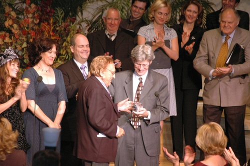 Ted Chapin, from the Rodgers and Hammerstein Organization presents Joseph Stein with The Oscar Hammerstein Award for Lifetime Achievement in Musical Theatre
