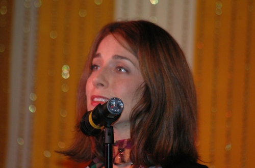 """Rachel Ulanet (LoveMusik) sings """"Inspired by Sonnet 27"""" by Steve Marzullo who also ac Photo"""