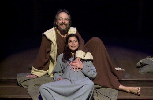 Joseph (Vince Petronio) and Mary (Gabby Sherba) eagerly anticipate the pending birth of the child.