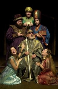 Herod (center, Bob Colonna) charges the Wise Men (rear l-r) Kevin Delaney, Jon Brennan, and Tom Bentley with the mission to find the child as Herod's Women (far left Ashley Kenner and far right Erin Olson) enjoy the merriment.