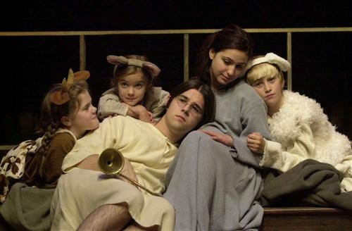 The stable animals, Cow (far left, Eileen Kinnane), Mouse (left center, Patricia Kinnane), and Sheep (far right, Owen Newsome,) comfort The Butterfingers Angel and Mary (center l-r, Dillon Medina and Gabby Sherba).