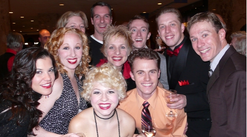 Members of the ensemble with Kelli Barclay and Mike Masters at 'White Christmas' Toronto Opening Night