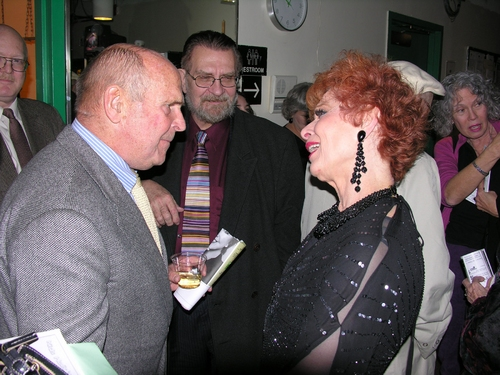 ABC Sports Commentator, Dick Button congratulates Carol Lawrence on her Opening Night performance of Girl's Room