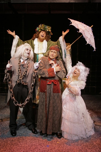 David Edwards as Scrooge (center) and ghostly visitors (clockwise from left), Gary Troy, Michael J. Farina, Christine Ditota