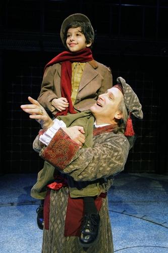 David Edwards (Scrooge) and Troy Tropicchio (Tiny Tim) Photo
