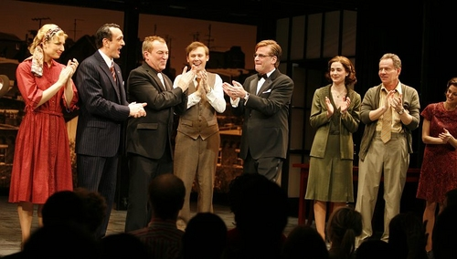 Aaron Sorkin with Hank Azaria, Des McAnuff, Jimmi Simpson and the company