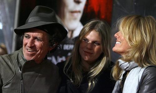 Keith Richards, Alexandra Richards and Patti Hansen