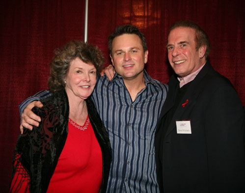 Actors Funds Chairman of the Western Council and national trustee Jomarie Ward and Driector of Special events David Michaels with Sam Harris