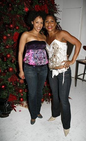 Krisha Marcano and Elisabeth Withers-Mendes at 'The Color Purple' Christmas Party