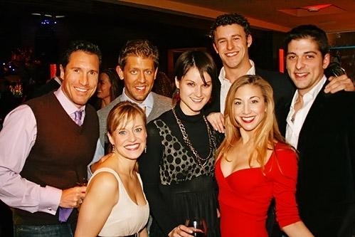 Cast Members of Curtains (l-r): Matt Farnsworth, Megan Sikora, Jennifer Dunne, Christopher Spaulding, Lorin Latarro and guests