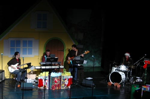 The Band (l-r): Ryan Parrino (guitar), Justin Paul (MD and keys), Dan Asher (bass), and Drew McKeon (drums)