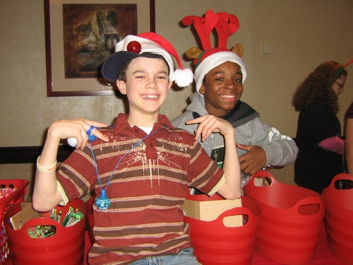Cody Hanford and J.J. Singleton, the two Flounders in The Little Mermaid stuff baskets for Freedom House