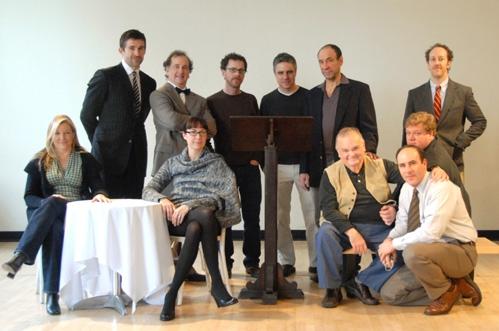 l-r: Mary McCann, Jonathan Cake, Mark Linn-Baker, Elizabeth Marvel, playwright Ethan  Photo