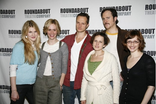l-r: Lily Rabe, Sarah Paulson, Chandler Williams, Jennifer Dunas, Patch Darragh and Jessica Stone