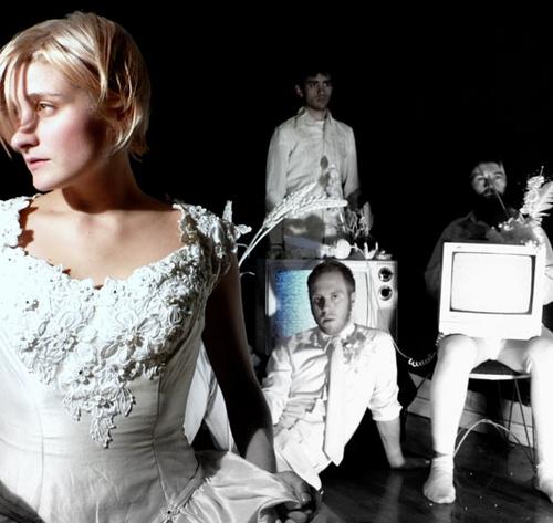 Heather Christian, Chris Giarmo (sitting), Raky Sastri (standing) and Mike Mikos