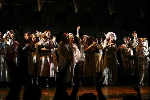 Rick Holmes, Christopher Sieber, Clay Aiken, Jonathan Hadary, Hannah Waddingham, David Hibbard, Brad Oscar and at 'Spamalot' Welcomes Clay Aiken & Hannah Waddingham to Broadway