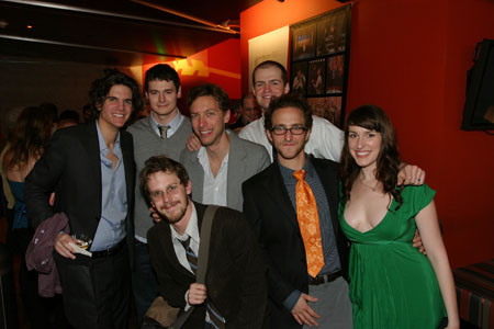 Alex Timbers, (Back) Benjamin Walker, (Front) Matthew Rocheleau, Michael Friedman and Adam O'Byrne, Will Greenberg and Erin Felgar at  'Bloody Bloody Andrew Jackson' LA Opening