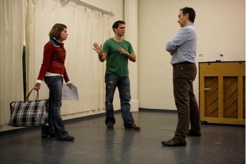 Moises Kaufman with Celia Keenan-Bolger and Steven Pasquale