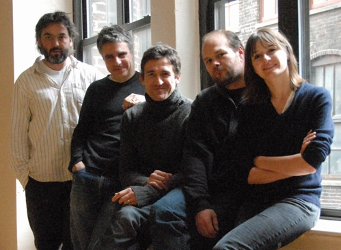 l-r: Playwright Jez Butterworth, director Neil Pepe and Jonathan Cake, Chris Bauer and Emily Mortimer
