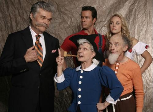 (Back l-r) Fred Willard, Eric Martsolf, Brandi Lynn Burkhardt, (Front l-r) Cathy Rigby, Robert Towers