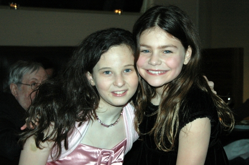 The two girls who alternate the role of Helen Keller: Meredith Lipson and Lily Maketaksky