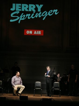 Luke Grooms (Dwight / God ) and Harvey Keitel (Jerry Springer)