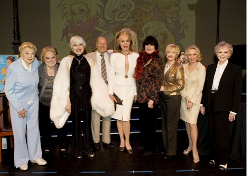 Honorees/Donors l-r: Esther Williams, Rose Marie, Carol Channing, Host Dick Van Patten, Julie Newmar, Host JoAnne Worley, Tippi Hedren, Florence Henderson and June Lockhart