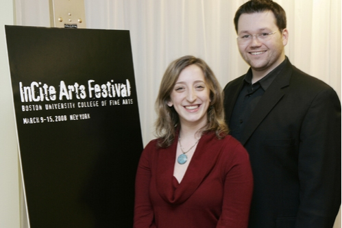 l-r: Boston University: Nitzan Halperin (Sow and Weep playwright), and Dan Gerdes (performer in Michael Nyman's one-act opera The Man Who Mistook His Wife for a Hat)