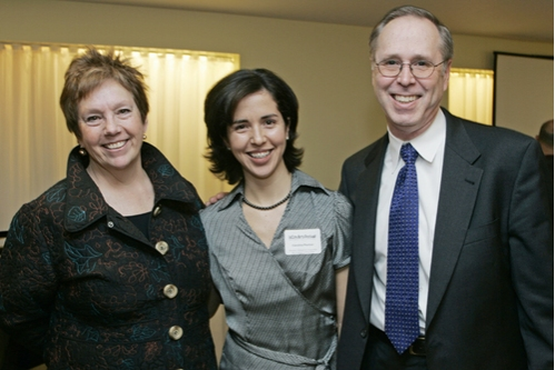 l-r: Lynne Allen (BU's School of Visual Arts Director), Carolina Pachon (student of BU's School of Visual Arts), and Walt Meissner (Dean of BU's College of Fine Arts program)