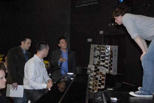 Adam Guettel (composer), John Simpkins (Director), Grant Wenaus (Music Director) and Jay Armstrong Johnson (Floyd)