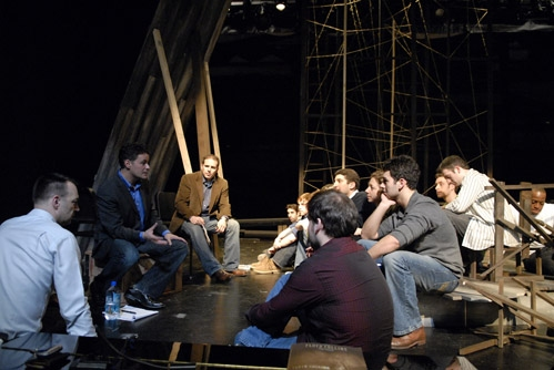 Adam Guettel with John Simpkins and cast Photo