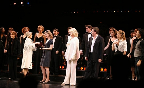 "Kate Burton, Erin Davie (with an ""adoring fan""), Christine Ebersole, Michael Park, Megan Sikora and Mario Cantone"