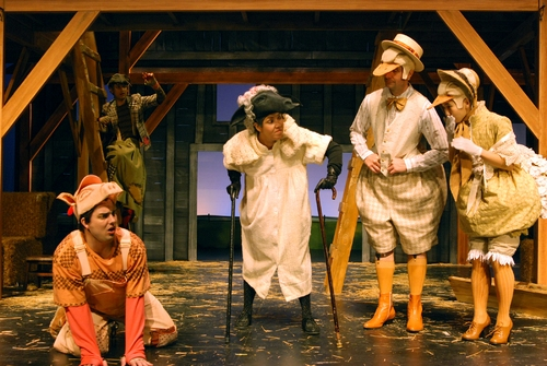 l-r: Guilford Adams as Wilbur, Diana Burbano as Sheep, Preston Maybank as Gander and Jennifer Chang as Goose