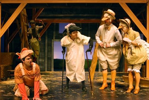 l-r: Guilford Adams as Wilbur, Diana Burbano as Sheep, Preston Maybank as Gander and Jennifer Chang as Goose