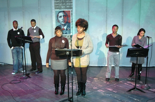 Timothy George Anderson, Dwayne Washington, Ebony Hood, Domonique Porter, Kevin Curtis, Alessia Thompson at Broadway for Barack