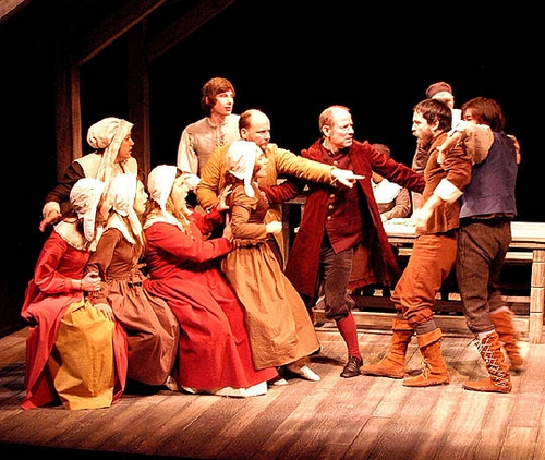 l-r: Jennifer Hildner, Cheryl Orsini, Lauren Currie Lewis, Stephanie Bayliss, George Kareman, Sherry Stregack, Bruce Smolanoff, Keith Butler, Simon MacLean and David Rigo at 'The Crucible' at The Arclight Theatre
