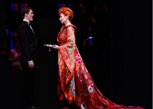 """Matt Owen and Dee Hoty (wearing Seattle couture designer Luly Yang's $30,000 """"Passage Photo"""