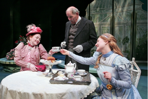 l-r: Christine Marie Brown as Gwendolen Fairfax, John-David Keller as Merriman and Elise Hunt at Cecily Cardew
