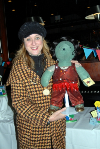 Lisa Lambert (lyricist) with The Drowsy Chaperone Bear at Broadway Bears 2008