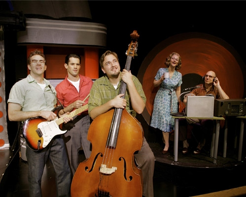l-r: Pat McRoberts (Buddy Holly) John Rochette and Eric Scott Anthony (the Crickets) with Angela Howell (Vi Petty) and John Schiappa (Norman Petty)