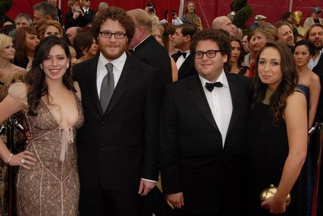 Seth Rogan (second from left, Jonah Hill (second from right) and guests
