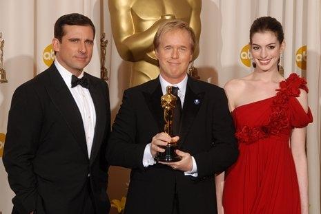 Steve Carell, Brad Bird and Anne Hathaway Photo