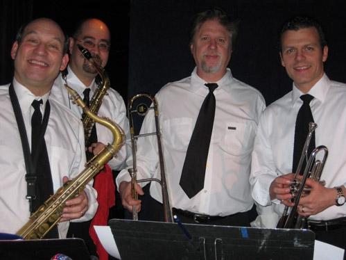 l-r: Jack Bashkow (sax), Matt Hong (sax), Larry Farrell (trombone) and David Spier (trumpet)