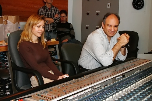 Kerry Butler and Michael Kosarin listen to playback