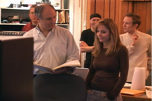 Michael Kosarin and Kerry Butler listen back to one of the tracks